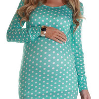 Mint-Green-White-Polka-Dot-Long-Sleeve-Maternity-Shirt