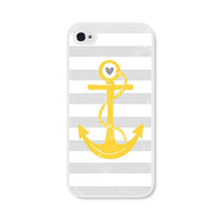 Striped Anchor Apple iPhone 5 Case - Plastic iPhone 5 Case - Nautical iPhone Case Skin - Mustard Yellow Grey White Cell Phone