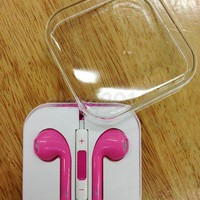 Pink Earphone Headphones with Remote Mic for iPhone