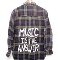 MUSIC IS THE ANSWER Vintage Flannel Shirt - LARGE - 00905
