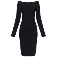 Bqueen Boat-Neck Bandage Dress Black H035H - Designer Shoes|Bqueenshoes.com