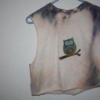 Bleached owl crop top by alexgilby on Etsy
