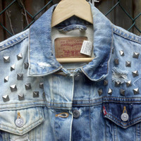 Vintage Levi's Denim Cut of Vest with pyramid by B0nafideVintage