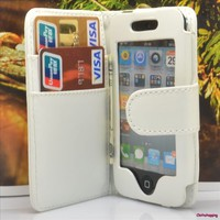 White Card Wallet Flip Smooth Leather Case Cover For Ipod Touch 4 4th gen AHY