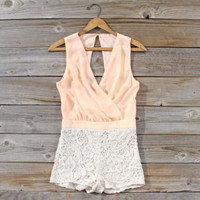 Sea Crystal Romper in Peach, Sweet Women&#x27;s Bohemian Clothing