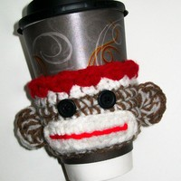 Sock Monkey Coffee Cup Cozy Drink Sleeve Crochet by littledarlynns