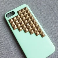 Iphone 5 case,studded iphone 5 case,Antique Bronze studded iphone case,studded iphone 5 case,  Green or blue Hard Cover  Iphone 5 Case