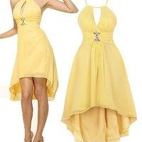 Keyhole Fish Tail Backless Lined Gemstones Bridesmaids Party Dresses S Yellow