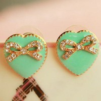fashion cute love bow cream green earrings