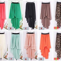 Green Girl Chiffon Sexy Elegant Asymmetric Long Maxi Skirt