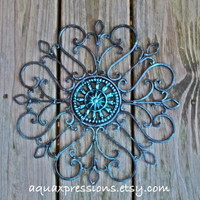 Metal Wall Decor /Blue Topaz /Distressed Patio Decor /Painted /Living room Decor /Outdoor /Iron Art /Ornate Christmas Decor
