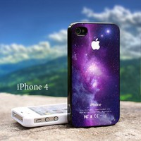 Purple Galaxy Nebula with Apple Logo Iphone 4 / 4s Black Case
