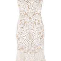 Alexander McQueen | Crochet-embroidered silk-organza dress | NET-A-PORTER.COM