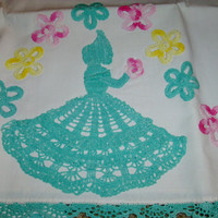 Pillow Cases With Hand Crochet Edges And Crochet Southern Belle And Flowers