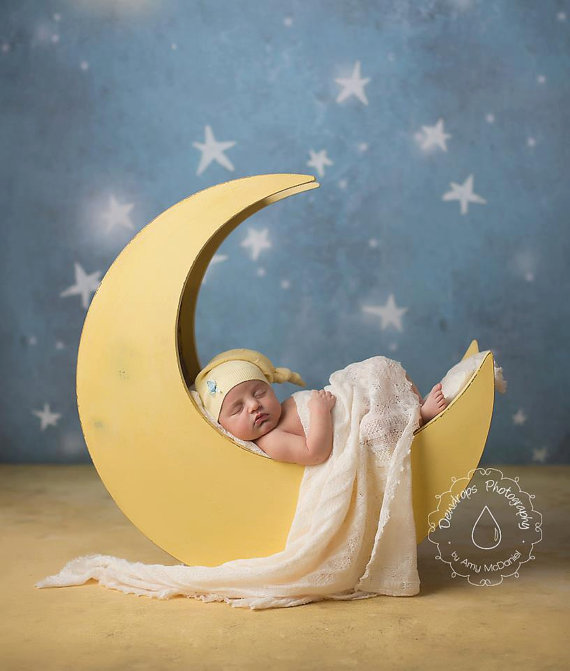 The Original - Newborn Photography Prop Moon, Moon Photo Prop, Wood Moon Prop