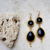Dangle Earrings long earrings fashion Jewelry black agate stones gold large bold simple gemstone earrings israel