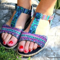 Hmong Embroidered Batik T-Strap Vegan Womens Sandal in Bright Blues and Lilac
