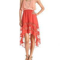 Lace Inset Hi-Low Chiffon Dress: Charlotte Russe