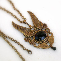Gothic Wings Brass Pendant by LeBoudoirNoir on Etsy