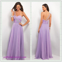 Charming purple one-shoulder floor length prom dress/evening dress from Girlsfriend