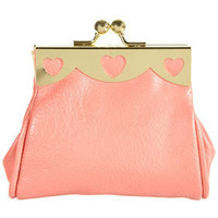 Coral Heart Cutout Frame Purse