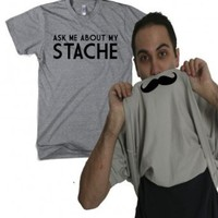 Ask me about my stache funny mustache shirt flip: Clothing