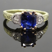 Fabulous 14K Yellow and Platinum Chased Art Deco Sapphire Ring - RGSA109P