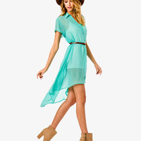 Belted High-Low Shirtdress