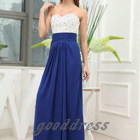 Free shipping 2013 custom made white and blue crystal beaded empire floor length long evening dress prom party gown gowns