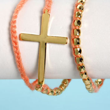 Who's the Cross Peach and Gold Wrap Bracelet