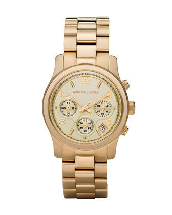 Michael Kors Midsized Chronograph Watch, Golden - Michael Kors