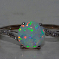 Opal Diamond Ring White Gold Quality