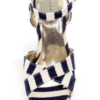 Very Volatile Nauttie Navy Blue Striped Platform Wedge Sandals