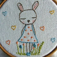 Made To Order Embroidered Hoop Art - Blue Bunny | Luulla