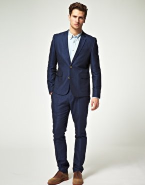 ASOS Slim Fit Suit in Blue Herringbone at ASOS