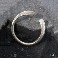 RING SILVER Hammered Forged Stackable Organic Rustic by GGoriginal
