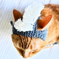 Mohawk Dog Hat Gray and White by bitchknits on Etsy