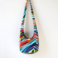 Rainbow Zebra Print Hobo Bag, Sling Bag, Bright, Colorful, Hippie Purse, Crossbody Bag