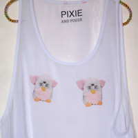 Furby Twins  Breast adorned Crop Top by PIXIEandPIXIER on Etsy