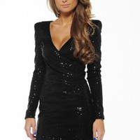 Sequin Long Sleeve V Front Dress