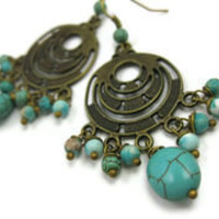 Bollywood Turquoise Earrings - leafandtendril.com