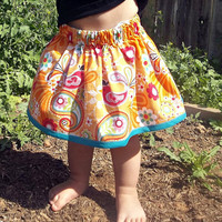Orange and Pink Twirly Bird Skirt by FrogLovesMonkey