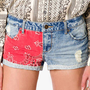 Bandana Print Denim Shorts | FOREVER 21 - 2027363655