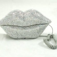 Hot Lips Phone - Silver Rhinestone: Home &amp; Kitchen