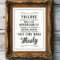 Retro Quote Giclee Art Print  &#x27;Failure&#x27; by RockTheCustardPrints