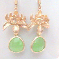 Lotus Green Gold Earrings, Gold Framed Crystal, Dangle Drop, Mint, Light Green Earrings, Everyday, Bestfriends Gift by Crystalshadow on etsy