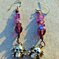 Skull Earrings Amethyst Beaded Semi Precious Woman Direct Checkout Chakra Earrings Dangle