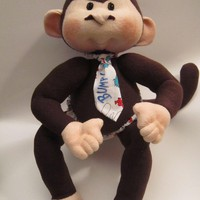 "17"" Soft Cloth Monkey, Handmade Monkey Doll, Dinky Baby, Soft Sculpture Monkey, Brown Eyes, Dr. 