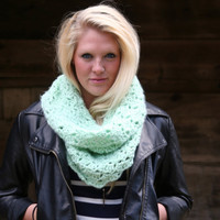 Cowl Scarf Crochet Snood Scarf Mint