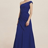 Carney in One Shoulder Royal Blue Evening Dress